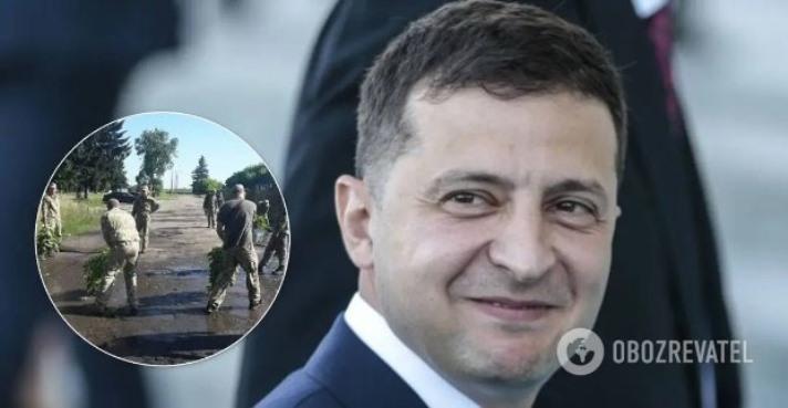 У Луцьку військові вичерпували калюжі перед приїздом Зеленського. Фото і відео